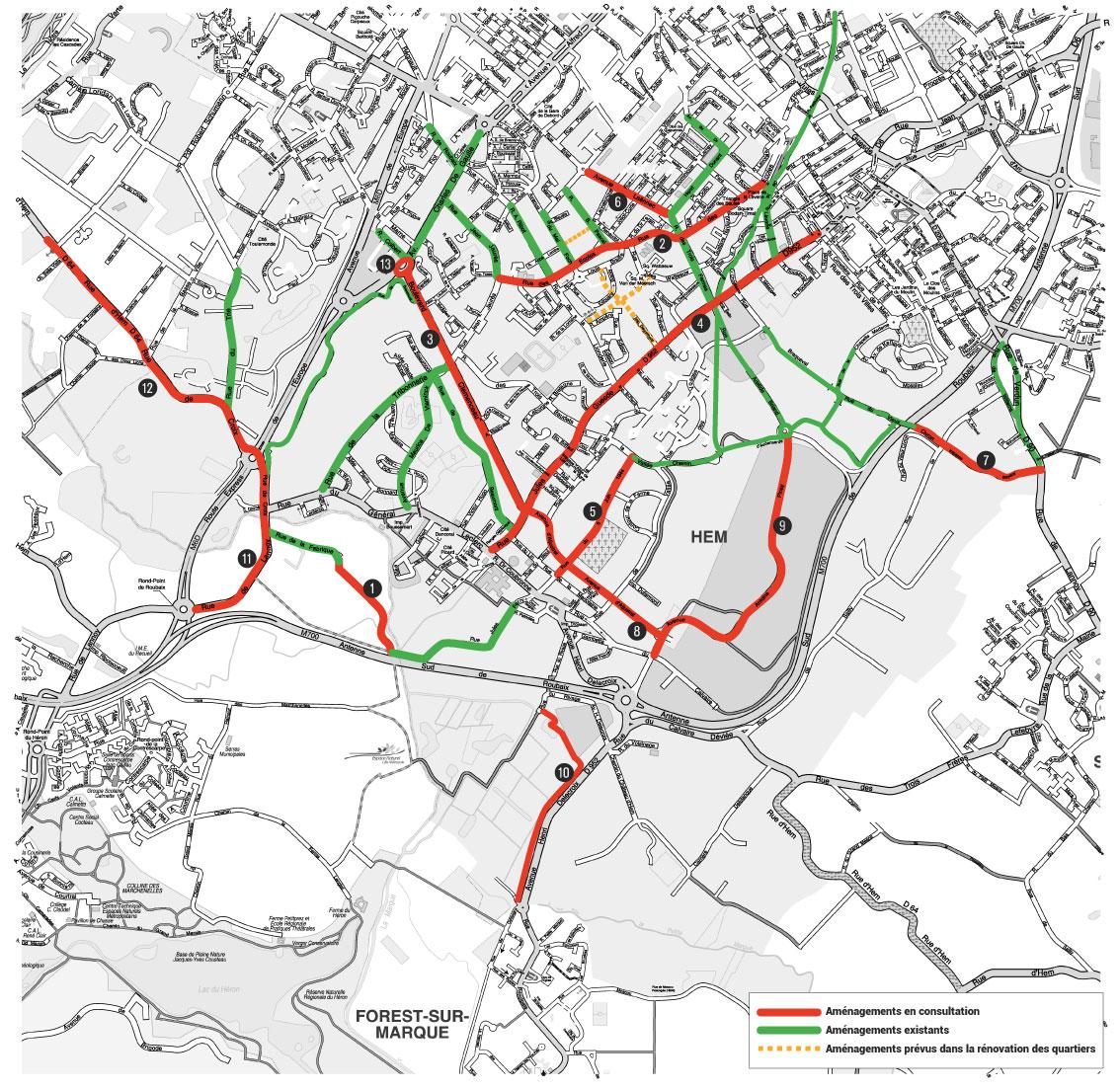 Plan Hem propositions d'aménagements cyclable